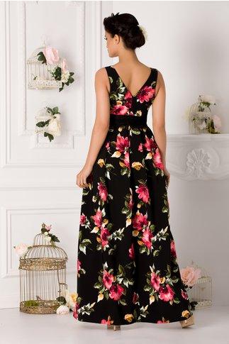 Rochie Venice neagra lunga cu imprimeu floral si dantela in talie