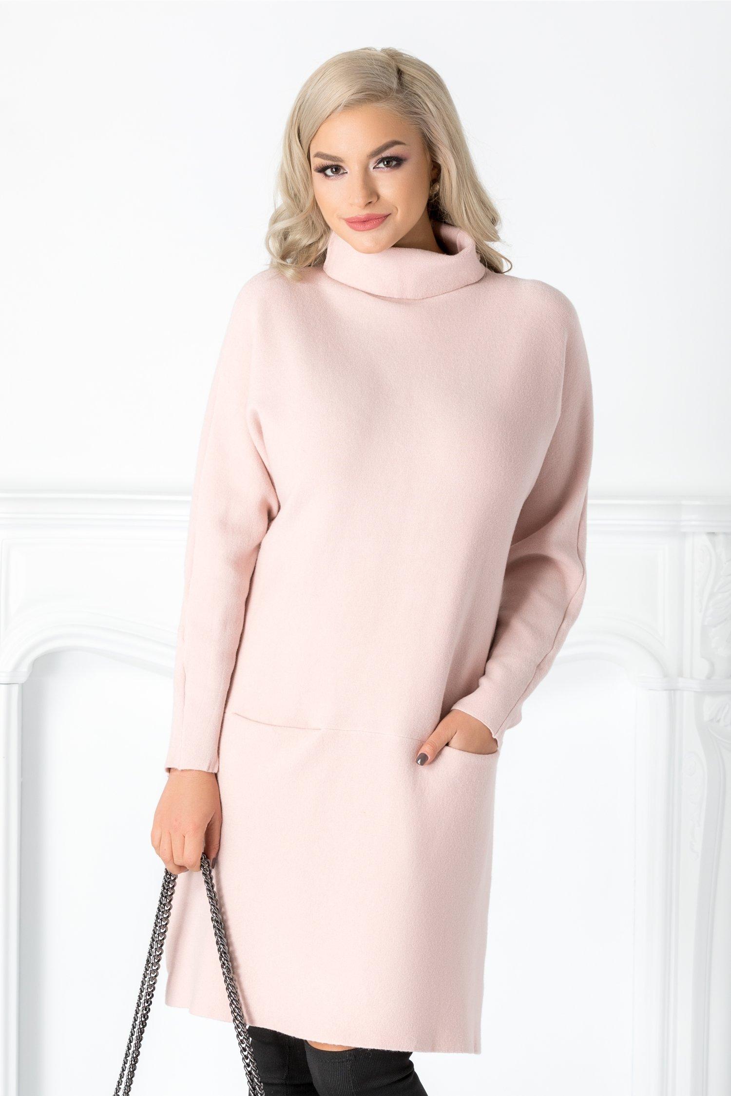 Rochie Vera roz casual cu buzunare