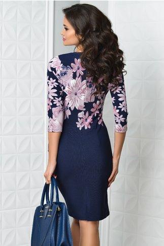 Rochie Verda bleumarin cu imprimeu lila