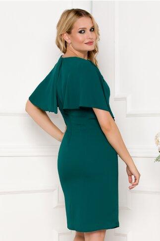 Rochie verde cu volane si broderie florala la bust