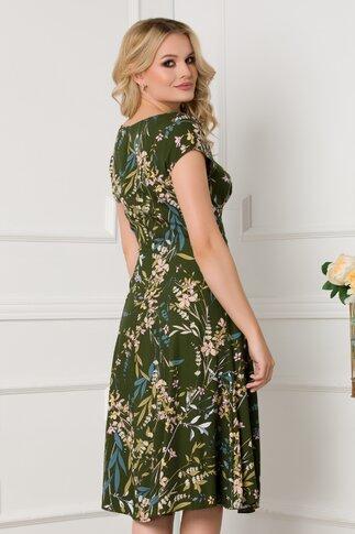 Rochie verde inchis cu imprimeu floral cu decupaj oval la baza gatului