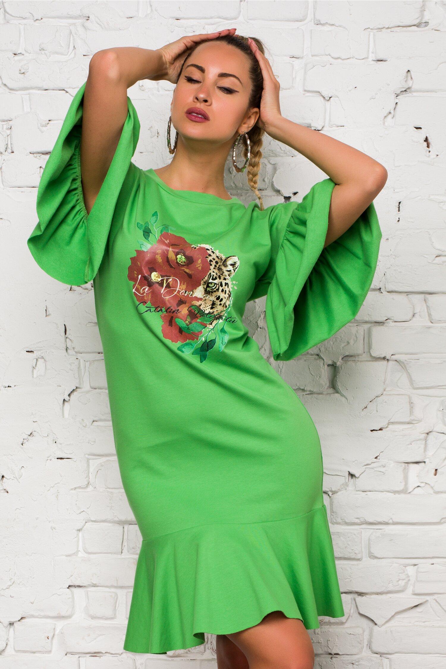 Rochie verde LaDonna by Catalin Botezatu cu imagine imprimata pe fata si volane