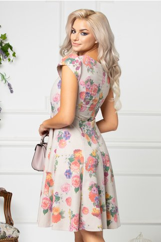 Rochie Verna bej cu imprimeu floral colorat