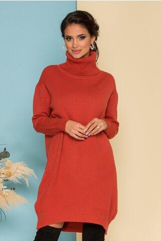 Rochie Verra caramizie din tricot