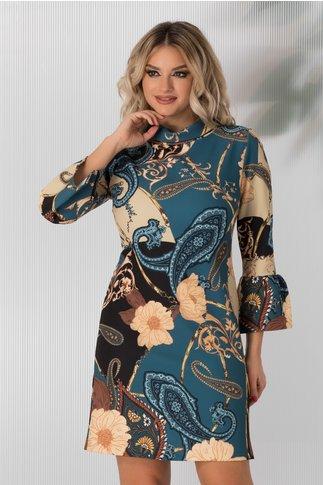 Rochie Via albastra cu imprimeu floral si maneci clos