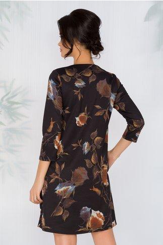Rochie Vionela neagra cu imprimeu floral in nuante tomnatice