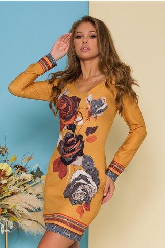 Rochie Vivianne galbena cu imprimeu floral