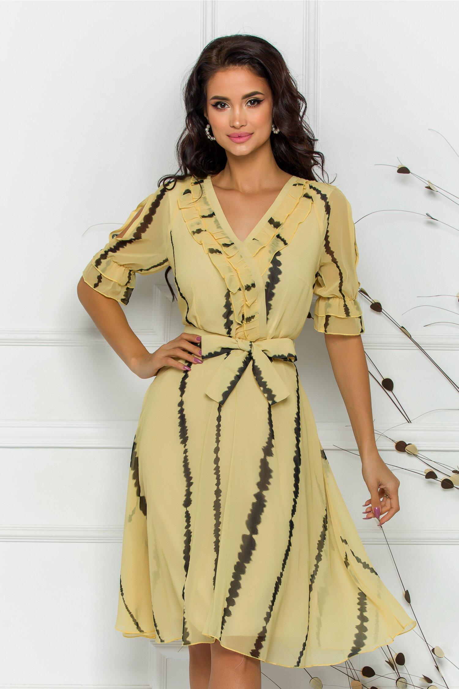 rochie vivy galben cu imprimeuri negre 598315 4