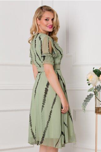 Rochie Vivy verde cu imprimeuri kaki