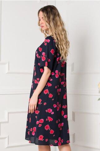 Rochie Wendy bleumarin cu flori rosii si dantela la decolteu