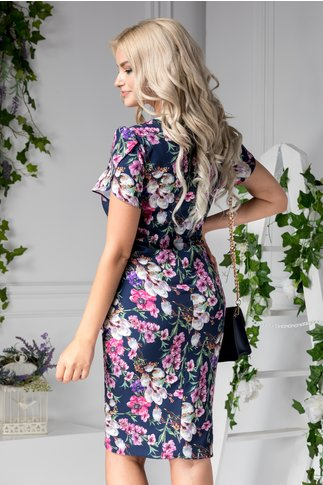 Rochie Wendy de zi bleumarin cu detalii florale roz