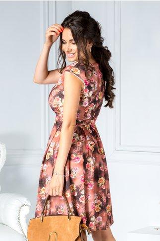 Rochie Wendy maroniu de zi cu imprimeu floral elegant