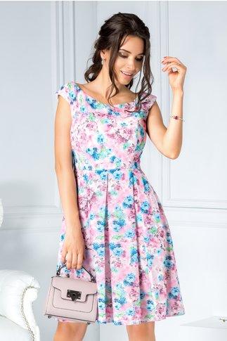 Rochie Wendy roz de zi cu imprimeu floral bleu