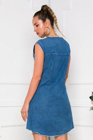 Rochie Willow albastra din denim accesorizata cu broderie si margelute la baza