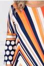 Rochie Wind alba cu dungi colorate si buline