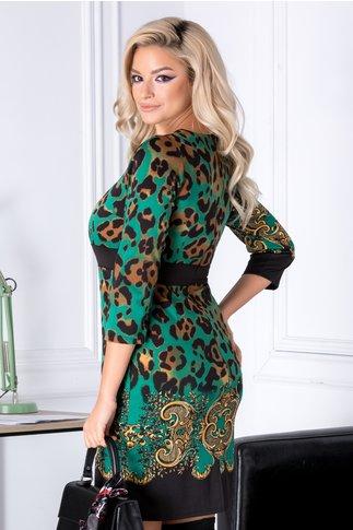 Rochie Xander verde cu imprimeu negru-maro