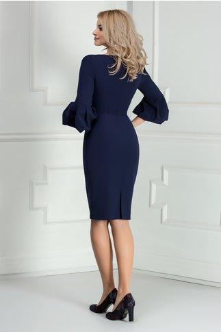 Rochie Xara conica bleumarin cu maneca clopot si cute
