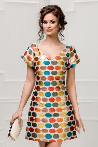 Rochie Xara din jacard cu buline colorate