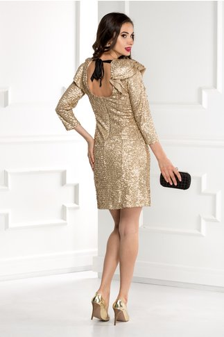 Rochie Xara din paiete aurii si decolteu cu funda la spate