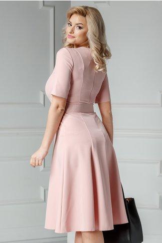 Rochie Xara roz midi din stofa in clini