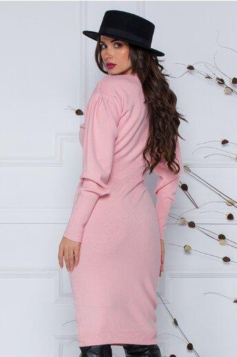 Rochie Ximo roz din tricot cu talie marcata