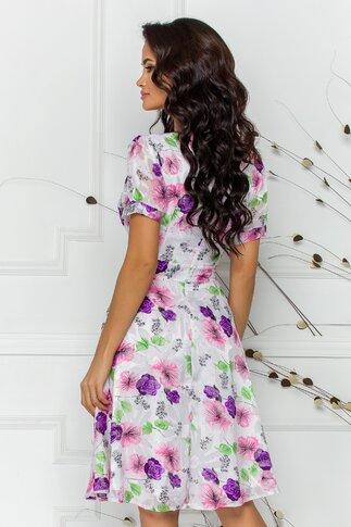 Rochie Xya alba cu imprimeu floral