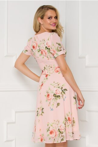 Rochie Xya roz pal cu imprimeu floral
