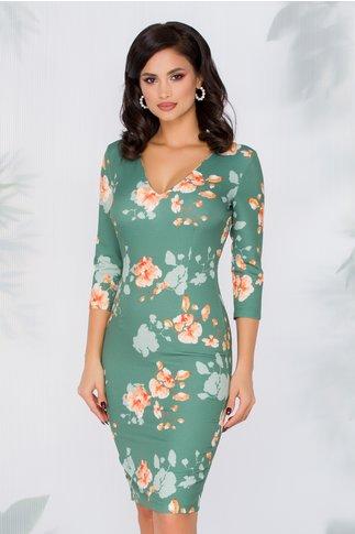 Rochie Yanisia verde crud cu imprimeu floral