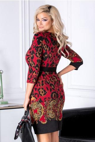 Rochie Ynes rosie cu imprimeu negru