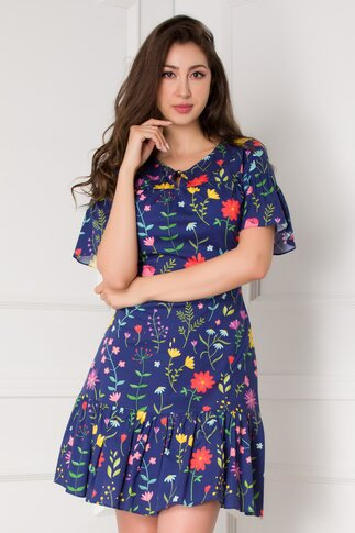 Rochie Yvy bleumarin cu imprimeuri florale colorate
