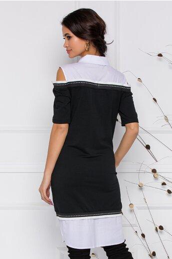 Rochie Zari neagra cu design tip camasa