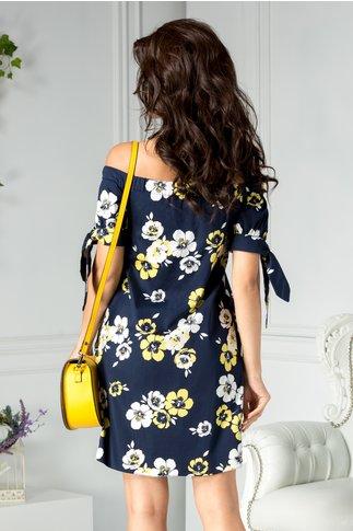 Rochie Ladonna Zaria bleumarin cu flori alb galben