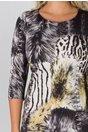 Rochie Zaria cu animal print si strasuri