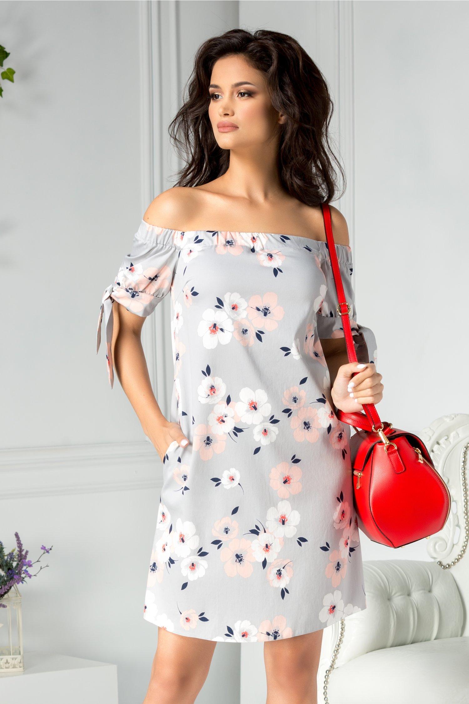 Rochie Ladonna Zaria gri cu flori alb roz