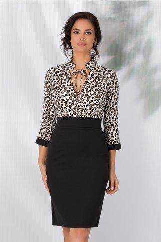 Rochie Zary alb cu negru si imprimeu leopard
