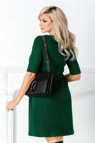 Rochie Zaviera verde cu dungi negre si nasturi in talie