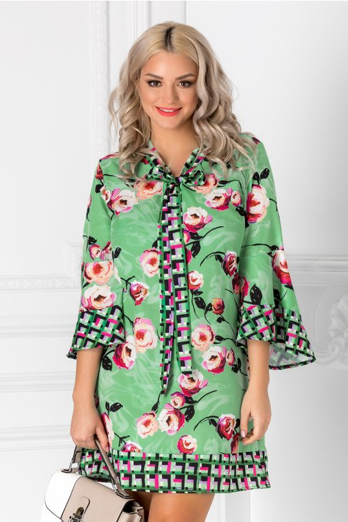 Rochie Zeny verde cu imprimeu floral