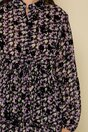 Rochie Zina neagra cu imprimeu floral mov si insertii catifelate