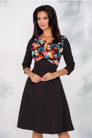 Rochie Zina neagra cu imprimeu floral multicolor