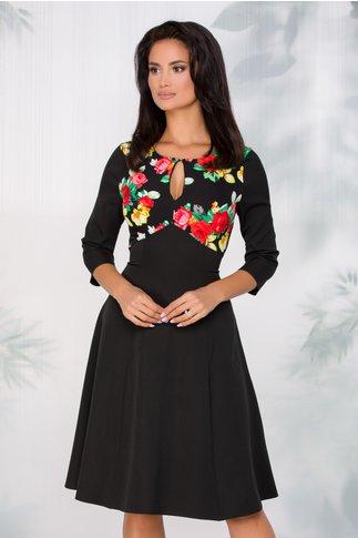 Rochie Zina neagra cu trandafiri rosii si galbeni