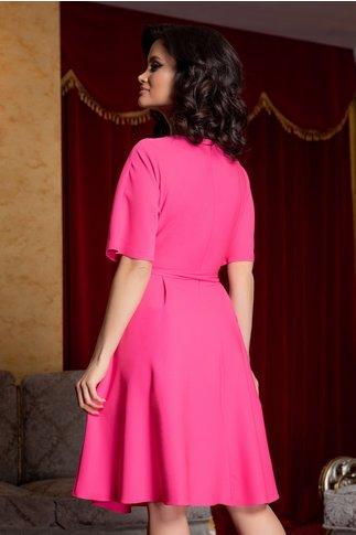 Rochie Zoraia roz neon cu strasuri la guler