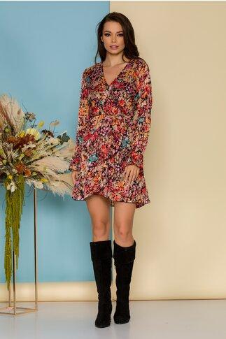 Rochie Zoye neagra cu imprimeu floral multicolor si insertii discrete din fir lurex