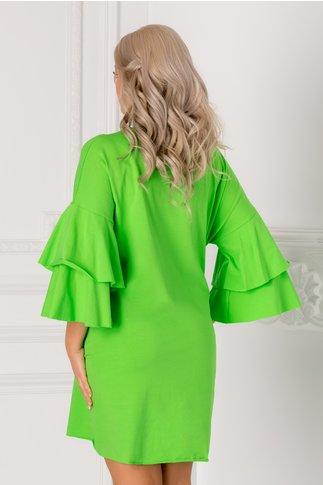 Rochita casual verde cu aplicatie stralucitoare pe fata