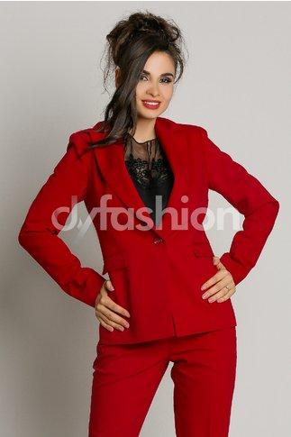 Sacou Beatrice Rosu Cambrat Elegant