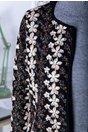 Sacou dama negru cu insertii florale