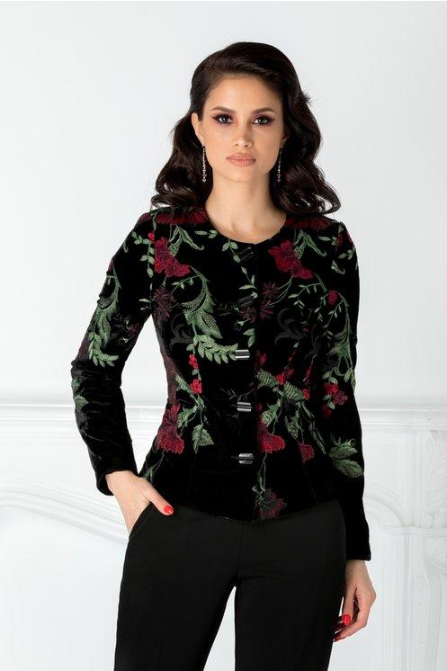 Sacou dama negru din catifea cu broderie florala bordo