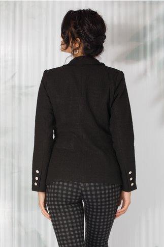 Sacou Daria negru cu nasturi eleganti