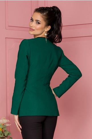 Sacou Ginette verde cu cordon in talie