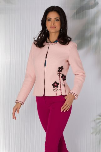 Sacou LaDonna roz cu broderie hand-made
