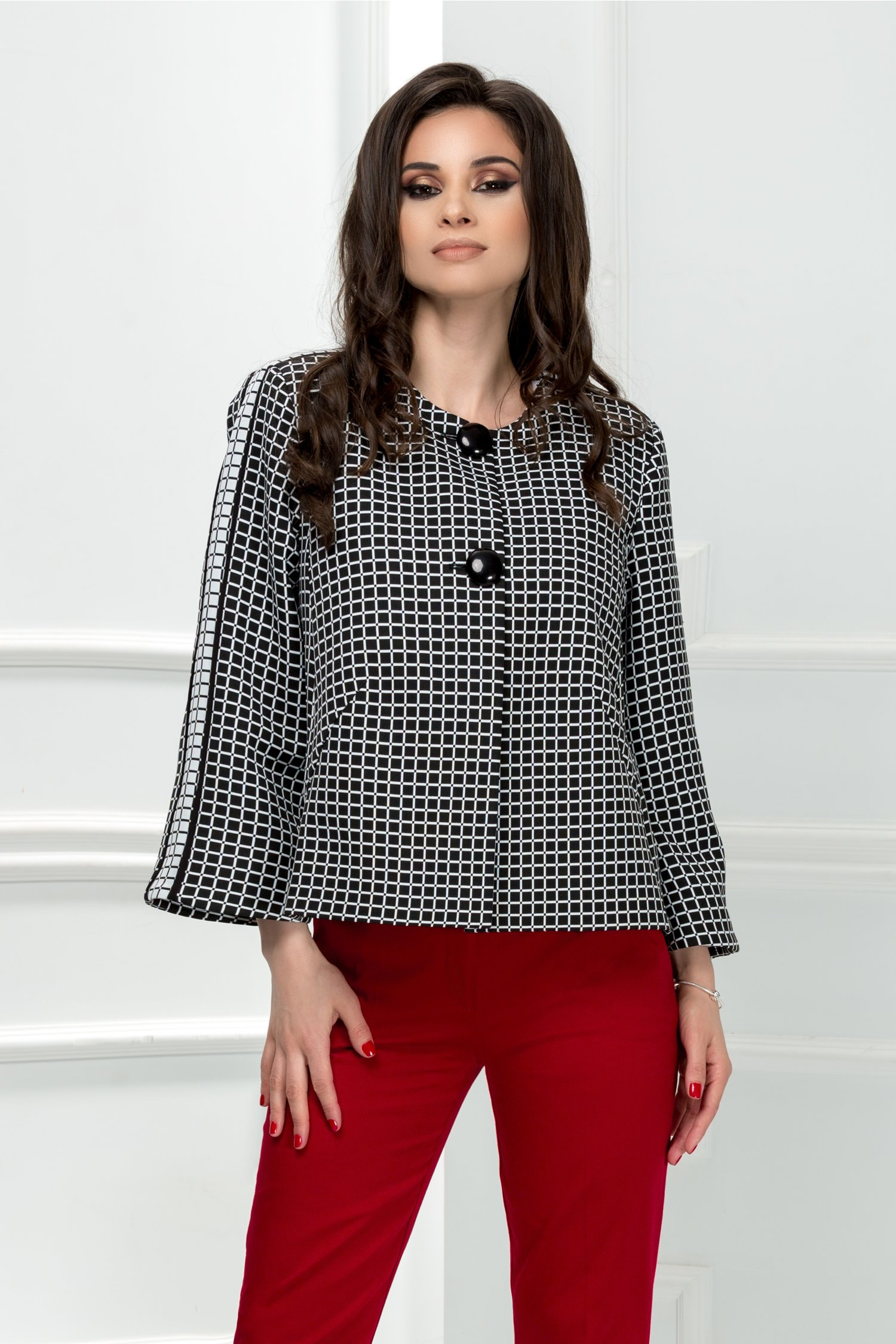 Sacou Leonard Collection negru in carouri